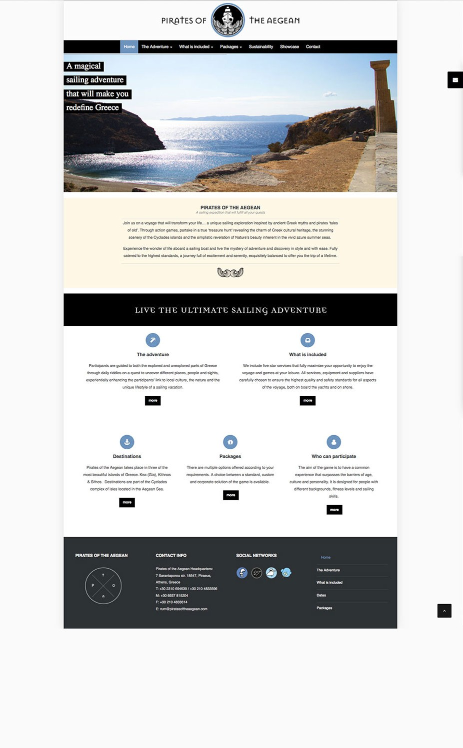 website presentation for pirates of the aegean website and webdesign